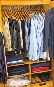Organizing and categorizing items—shirts with shirts, pants with pants, etc.— is a helpful way to assist your loved one.